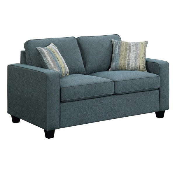 Sophisticatedly Styled Upholstered Loveseat, Blue