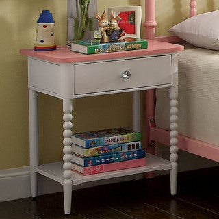 Furniture of America Cerise Transitional Pink & White Youth Nightstand
