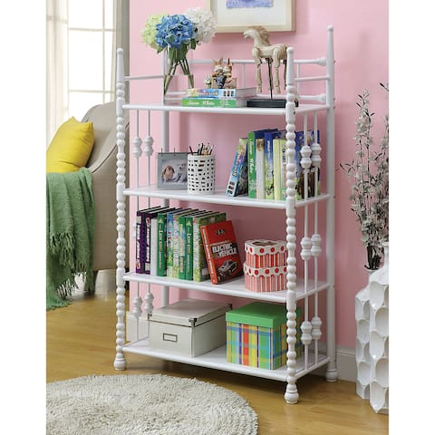 Cerise Transitional White 4-tier Youth Display Shelf by FOA