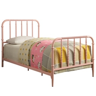 Furniture of America Pole Transitional Pink Metal Beaded Panel Bed