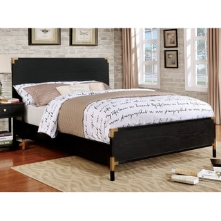 Furniture of America Mols Contemporary Black Solid Wood Panel Bed