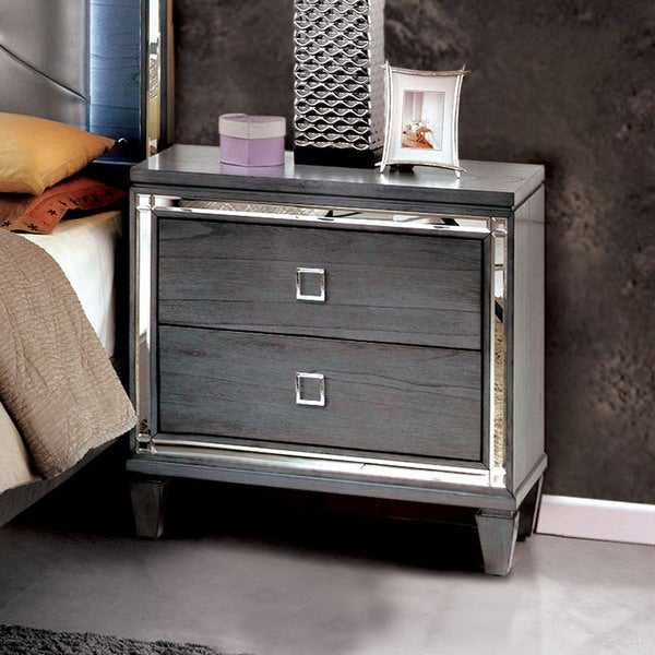 Furniture of America Drow Contemporary Grey Solid Wood Nightstand