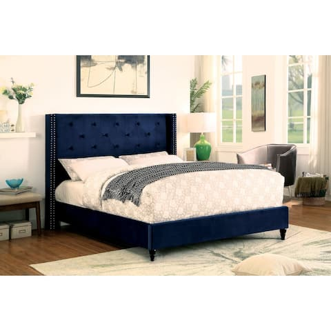 Furniture of America Ravy Contemporary Blue Fabric Tufted Platform Bed