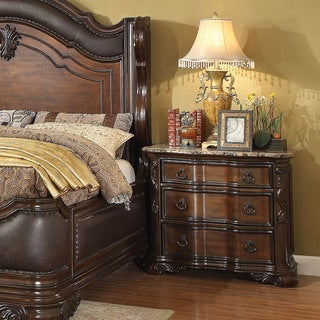 Furniture of America Huston Traditional Genuine Marble Top Brown Cherry Nightstand