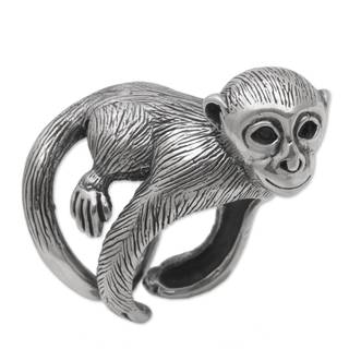 Handmade Sterling Silver 'Amusing Monkey' Ring (Indonesia)