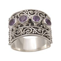 Handmade Sterling Silver 'Lucky Four' Amethyst Ring (Indonesia)