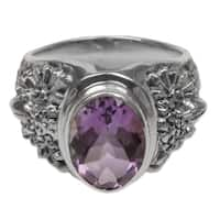 Handcrafted Sterling Silver 'Worried Owl' Amethyst Ring (Indonesia)