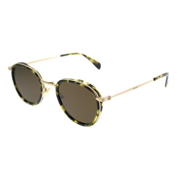 0f7a5953a3 Celine Round CL 41423 Cora J1L EC Women Havana Green Gold Frame Brown Lens  Sunglasses