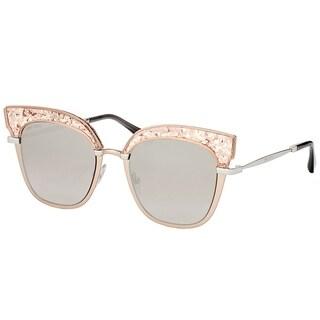 Jimmy Choo Square JC Rosy 68I Women Nude Palladium Frame Gold Mirror Lens Sunglasses
