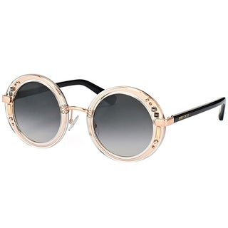 Jimmy Choo Round JC Gem 1FN 9O Women Crystal Rose Gold Frame Grey Gradient Lens Sunglasses