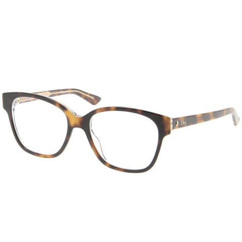 Dior Square CD Montaigne8 G9Q Women Havana Crystal Frame Eyeglasses