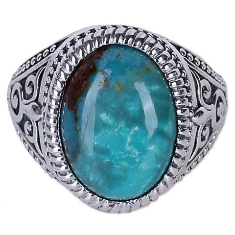 Handmade Sterling Silver Radiant Blue Beauty Turquoise Ring (India)