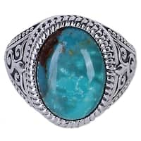 Handmade Sterling Silver 'Radiant Blue Beauty' Turquoise Ring (India)