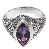 Handmade Sterling Silver 'Gianyar Orchid' Amethyst Ring (Indonesia)