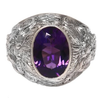 Handmade Men's Sterling Silver Benevolent Barong Amethyst Ring (Indonesia)