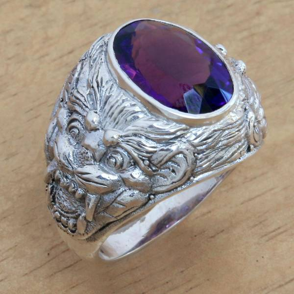 Handmade Men's Sterling Silver 'Benevolent Barong' Amethyst Ring (Indonesia)