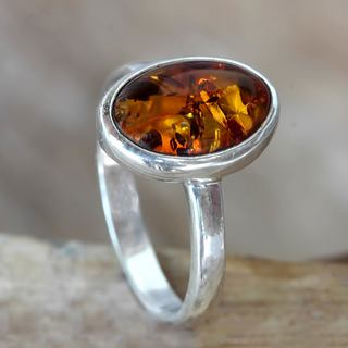 Handmade Sterling Silver 'Harmony Sunset' Amber Ring (Indonesia)