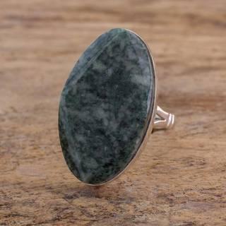 Handmade Sterling Silver 'Light Green Maya Mystique' Jade Ring (Guatemala)