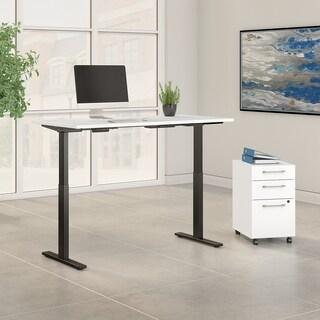 Move 60 72W Height Adjustable Desk & File, White & Black