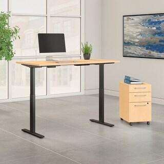 Move 60 60W Height Adjustable Desk & File, Natural Maple & Black