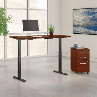 Move 60 72W Height Adjustable Desk & File, Hansen Cherry & Black