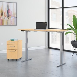 Move 60 60W Height Adjustable Desk & File, Natural Maple & Gray