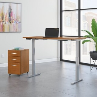 Move 60 72W Height Adjustable Desk & File, Natural Cherry & Gray