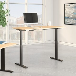 Move 60 60W Height Adjustable Desk, Natural Maple & Black