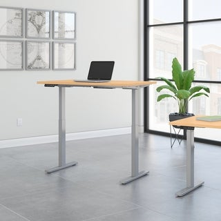 Move 60 48W Height Adjustable Desk, Natural Maple & Gray