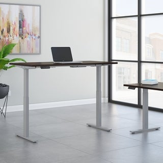 Move 60 72W Height Adjustable Desk, Mocha Cherry & Gray