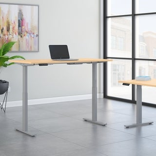 Move 60 60W Height Adjustable Desk, Natural Maple & Gray