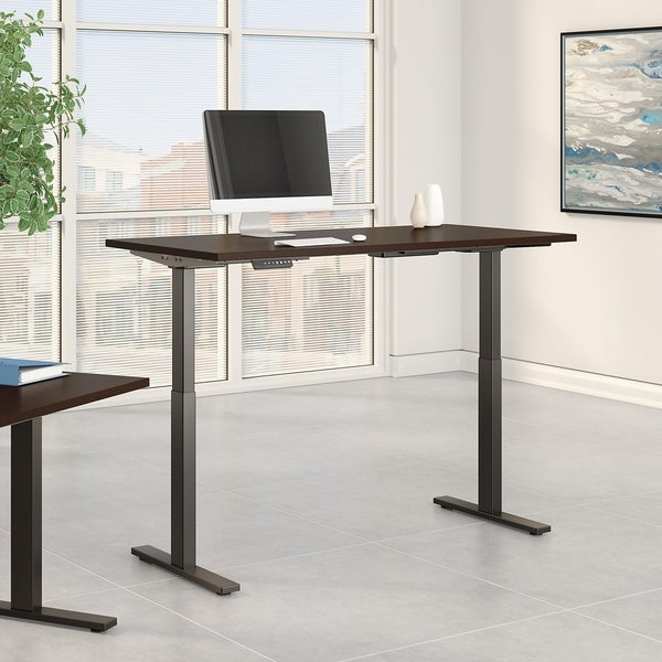 Move 60 Series by Bush Business Furniture 72W x 24D Height Adjustable Standing Desk in Mocha Cherry Satin with Black Base