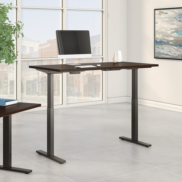 Move 60 Series by Bush Business Furniture 72W x 24D Height Adjustable Standing Desk in Mocha Cherry with Black Base