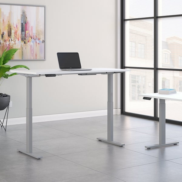 Move 60 Series by Bush Business Furniture 72W x 24D Height Adjustable Standing Desk in White with Cool Gray Metallic Base