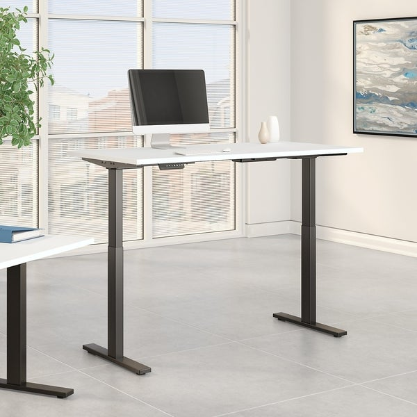 Move 60 Series by Bush Business Furniture 72W x 24D Height Adjustable Standing Desk in White with Black Base