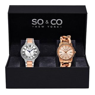 SO&CO New York Women's Madison Quartz Stainless Steel Bracelet Watch Set