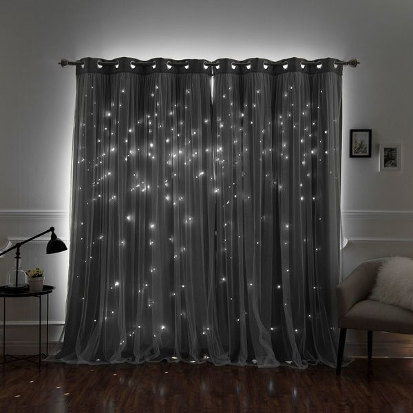 Aurora Home Star Punch Tulle Overlay Blackout Curtain Panel Pair. Opens flyout.