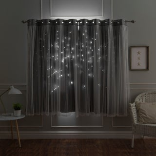 Aurora Home Star Punch Tulle Overlay Blackout Curtain Panel Pair