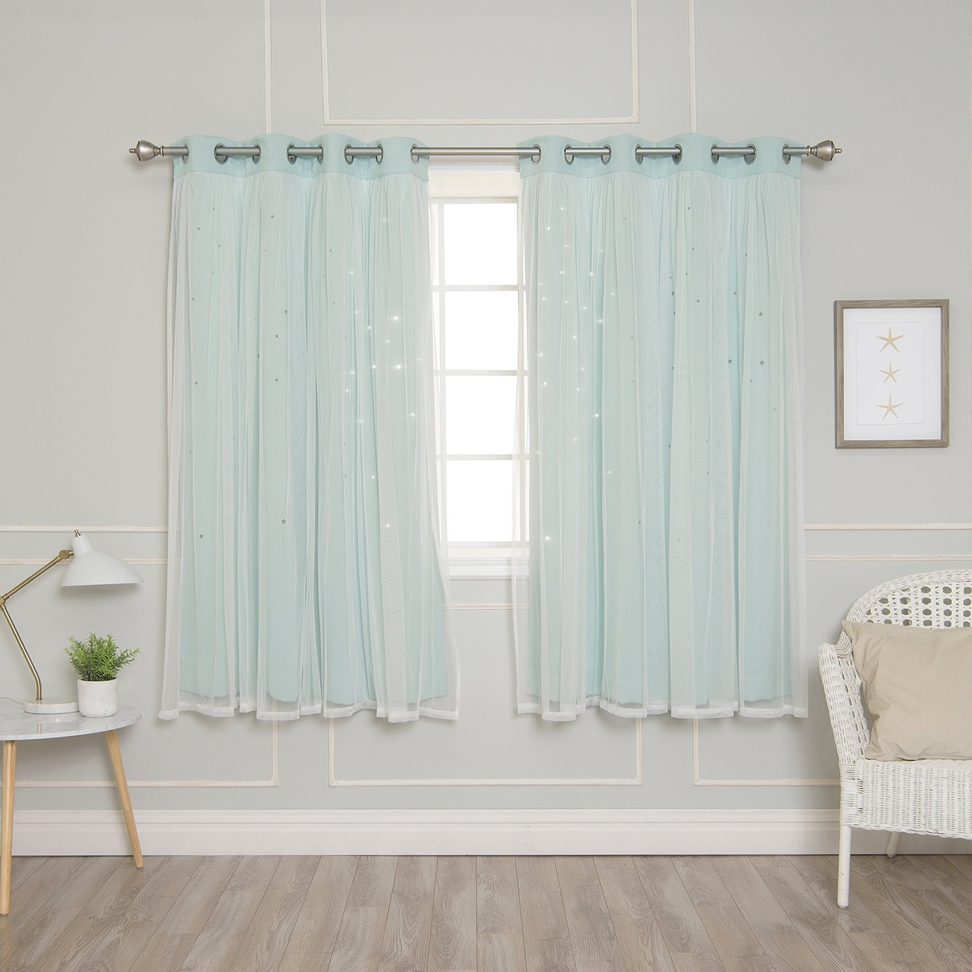Aurora Home Star Punch Tulle Overlay Blackout Curtains (More options available)
