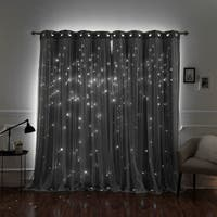 Aurora Home Star Punch Tulle Overlay Blackout Curtains