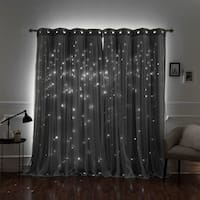 Aurora Home Star Punch Tulle Overlay Blackout Curtains - N/A