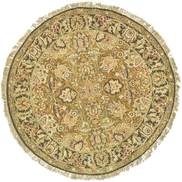 Safavieh Couture Hand-Knotted Old World Vintage Gold / Green Wool Rug - 8' x 8' Round