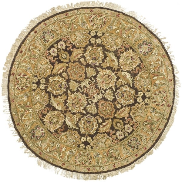 Safavieh Couture Hand-Knotted Old World Vintage Dark Brown / Gold Wool Rug - 8' Round