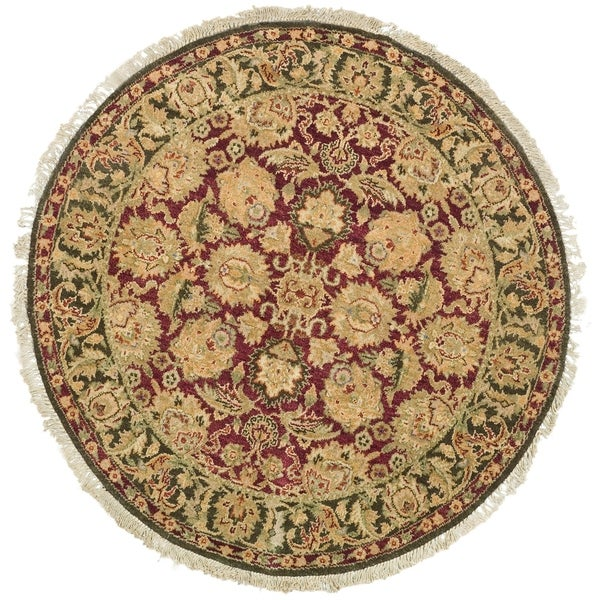 Safavieh Couture Hand-Knotted Old World Vintage Burgundy / Green Wool Rug - 4' x 4' Round