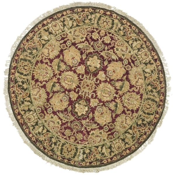 Safavieh Couture Hand-Knotted Old World Vintage Burgundy / Green Wool Rug - 4' Square