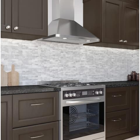 Ancona WPR630 Wall Pyramid Chef Range Hood 30 in. with LED lights in Stainless Steel - Silver