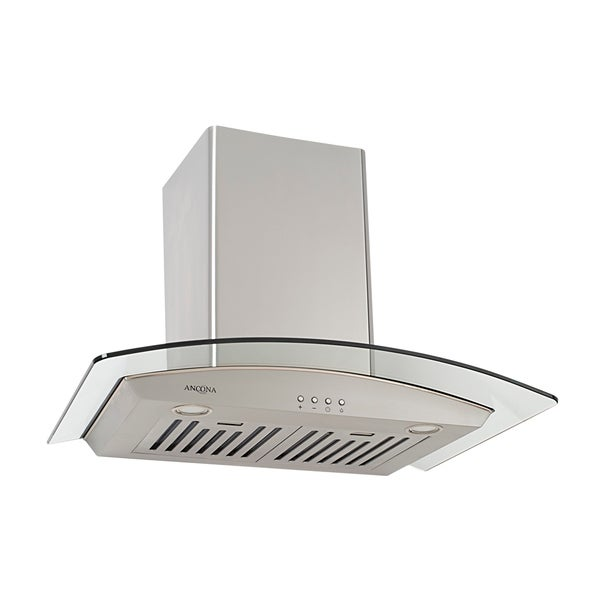 Ancona GCP530 - Glass Canopy 30 in. Range Hood with LED Lights in Stainless Steel - Silver