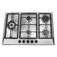 Ancona 30 in. Gas Cooktop in Stainless Steel with 5 Burners including Triple Ring Brass Power Burner