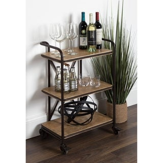 Kate and Laurel Kesson Metal and Wood 3 Tiered Kitchen and Bar Cart