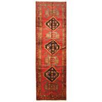 Handmade Herat Oriental Persian Hand-Knotted Hamadan Wool Runner (Iran) - 4' x 13'2